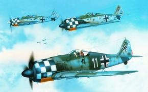 """Картинка небо, рисунок, арт, истребители, самолёты, WW2, немецкие, одноместные, личная разметка, Георга Скотта, """"Фокке-Вульф """" Fw …"""