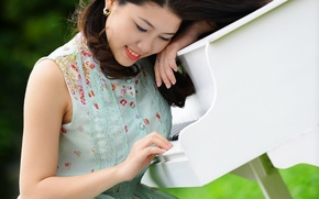Картинка девушка, музыка, азиатка, пианино