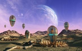 Картинка песок, горы, фантазия, девушки, камень, планета, арт, кокон