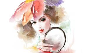 Картинка взгляд, девушка, лицо, волосы, рука, зеркало, кудри, любование, Tatiana Nikitina