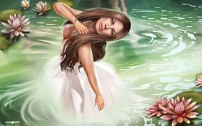 Картинка вода, девушка, лилии