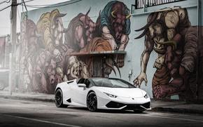 Картинка Lamborghini, белая, ламборгини, Huracan, хуракан