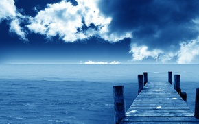 Обои море, облака, синий, причал, Горизонт