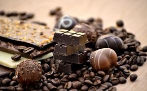 Обои молочный, шоколад, черный, конфеты, сладкое, кофе, зерна