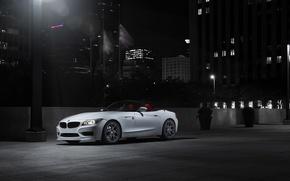 Картинка белый, ночь, бмв, BMW, white, родстер
