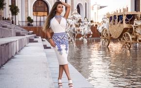 Обои модель, карета, платье, девушка, вода, Roman Polyanchev, стиль, поза