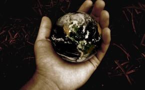 Картинка земля, планета, шар, рука