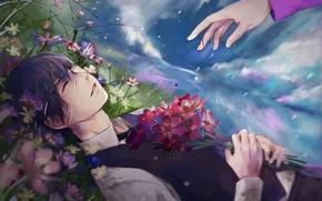 Картинка небо, облака, цветы, улыбка, дождь, рука, аниме, арт, повязка, парень, токийский гуль, Tokyo Ghoul, kaneki …