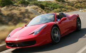 Обои ferrari, 458 italia, spider, скорость, дорога, speed