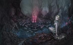 Картинка чаща, магия, арт, деревья, дверь, сидя, свечение, фэнтези, девушка, чаша, камни