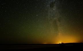 Картинка космос, звезды, ночь, горизонт, млечный путь