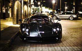Картинка ночь, город, Pagani, supercar, Zonda, передок, luxury