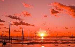 Обои Kutsuma Beach, облака, закат