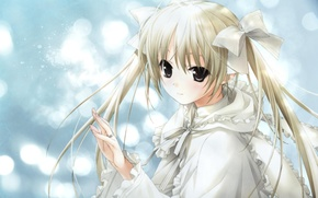 Картинка ленты, кольцо, девочка, бантики, kasugano sora, yosuga no sora