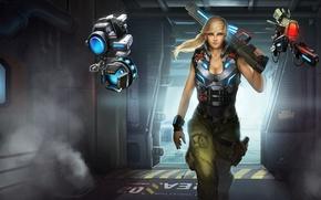 Картинка оружие, фантастика, роботы, арт, девушка. взгляд, Gemini
