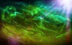Картинка небо, звезды, лучи, свет, туманность