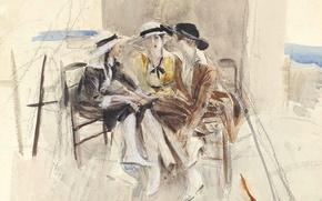 Картинка картина, акварель, жанровая, Джованни Больдини, Три Женщины Разговаривают на Террасе