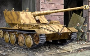 Картинка рисунок, броня, Waffentrager, 88mm, Pak-43, Krupp/Ardelt, немецкая сау