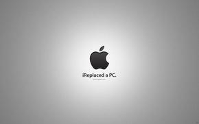 Картинка apple, mac, logo, ireplaced a pc
