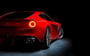 Картинка красный, Ferrari, red, феррари, rear, Berlinetta, F12, Kahn Design