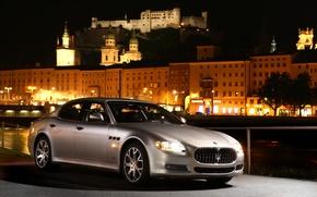 Обои машина, ночь, Maserati, серебристая, Quattroporte S