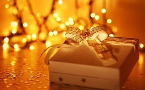 Картинка праздник, коробка, подарок, широкоэкранные, размытие, HD wallpapers, обои, полноэкранные, background, звезды, present, широкоформатные, лента, рождество, ...