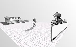Картинка дом, покемон, pokemon, Ash, двухмерные, забор. трава, Черно-белые