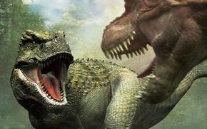 Картинка хищники, зубы, пасть, динозавры, схватка