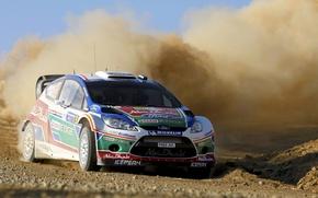 Картинка Ford, Пыль, Скорость, Форд, Занос, Автомобиль, WRC, Rally, Fiesta, Передок, завеса