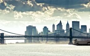 Картинка мост, город, океан, небоскребы