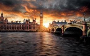 Картинка небо, облака, закат, Лондон, Биг-Бен, photographer, парламент, Guerel Sahin