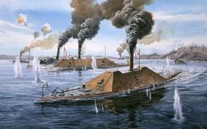 Картинка сша, гражданская война, броненосец, морской бой