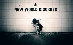 Обои стена, пуанты, New World Disorder, девушка