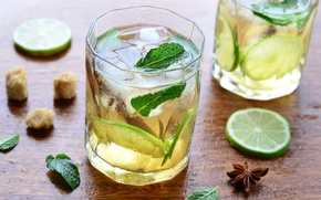 Обои лед, лайм, напиток, мята, лимонад