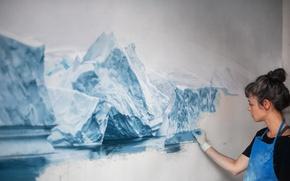 Картинка вода, девушка, краски, лёд, картина, айсберг, художник, перчатки, фартук, zaria forman