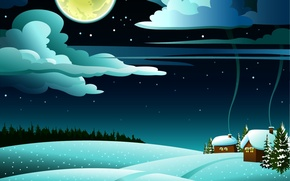 Картинка лес, облака, снег, пейзаж, холмы, домики, полнолуние, ёлки, дымок