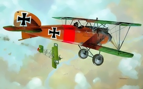 Картинка aircraft, war, airplane, aviation, dogfight, albatros ww1
