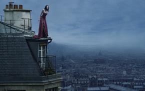 Картинка крыша, девушка, город, высоко, Les Toits De Paris