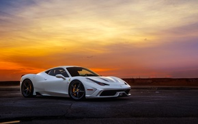 Обои ferrari, 458, italia, speciale, white, supercar, sunset, sky