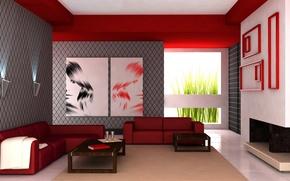 Обои дизайн, стол, комната, диван, интерьер, кресло