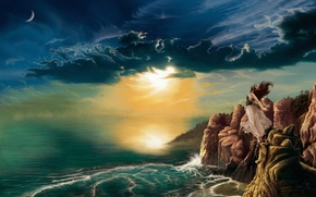 Обои девушка, Рисунок, солнце, скалы, облака, 158