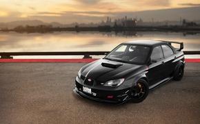 Картинка car, black, субару, sti, автообои, Subaru Impreza