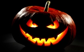 Картинка осень, ночь, Halloween, тыква, Хэллоуин, smile, face, holiday, pumpkin
