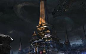 Обои фантастика, дракон, арт, храм