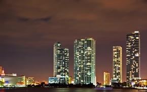 Картинка ночь, огни, Майами, Флорида, США, Miami, Florida
