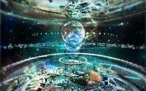 Обои механизм, огромный, Abstract mechanism, отражения, блики, шестерни