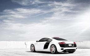 Картинка белый, небо, Audi, ауди, тюнинг, суперкар, диски, вид сзади, tuning, V10, в10