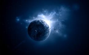 Картинка planet, light blue, Sci fi