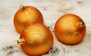 Картинка шарики, праздник, игрушки, новый год, золотой