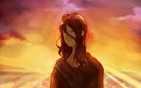 Картинка небо, девушка, закат, поля, арт, Аниме, Anime, No.6, Inukashi, Dogkeeper, спутанные волосы, Собачница, Инукаши, Шестая …